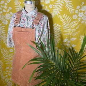 Tan Corduroy overall skirt size small